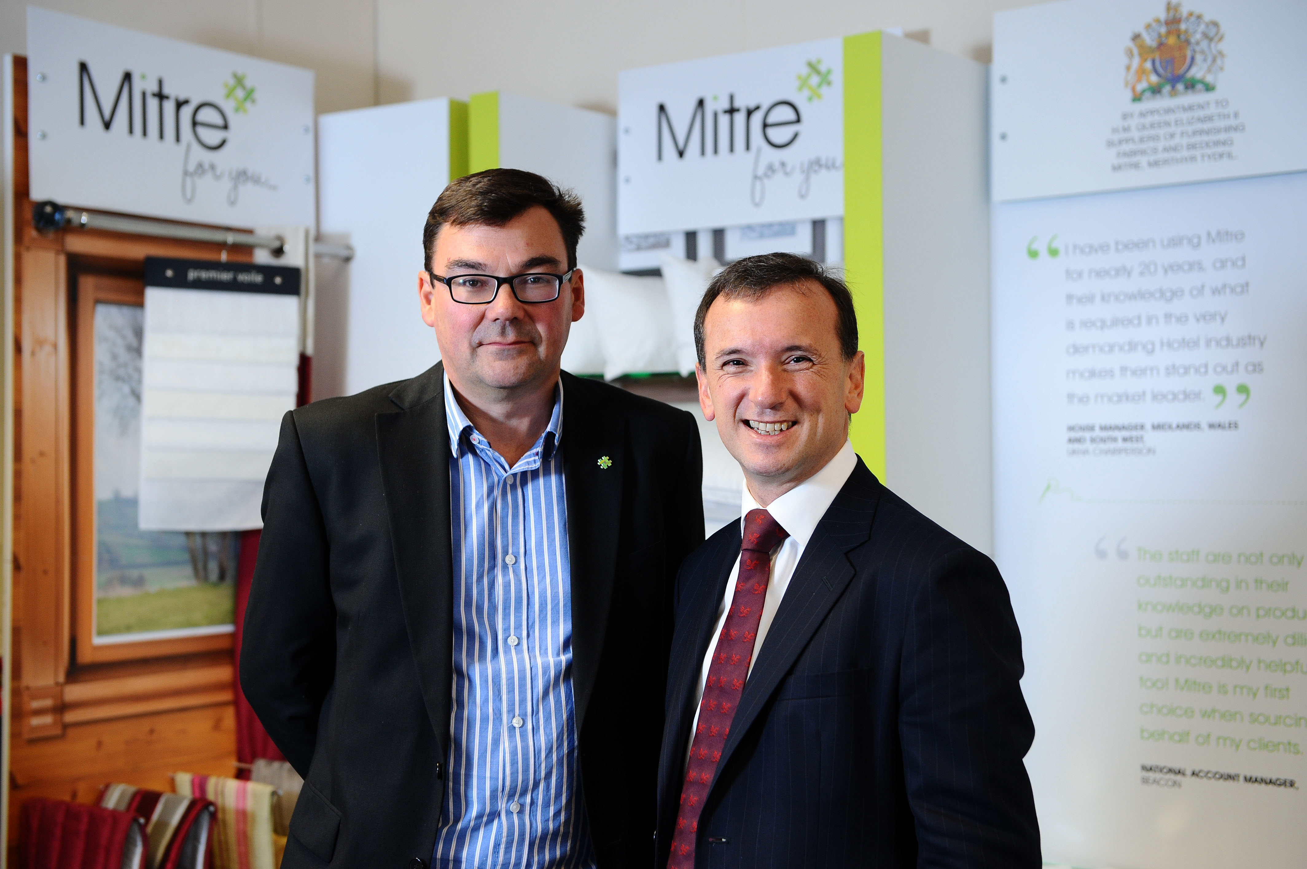 Welsh Secretary of State Alun Cairns visits Mitre Linen  He is pictured here with Jim Mangan  © WALES NEWS SERVICE